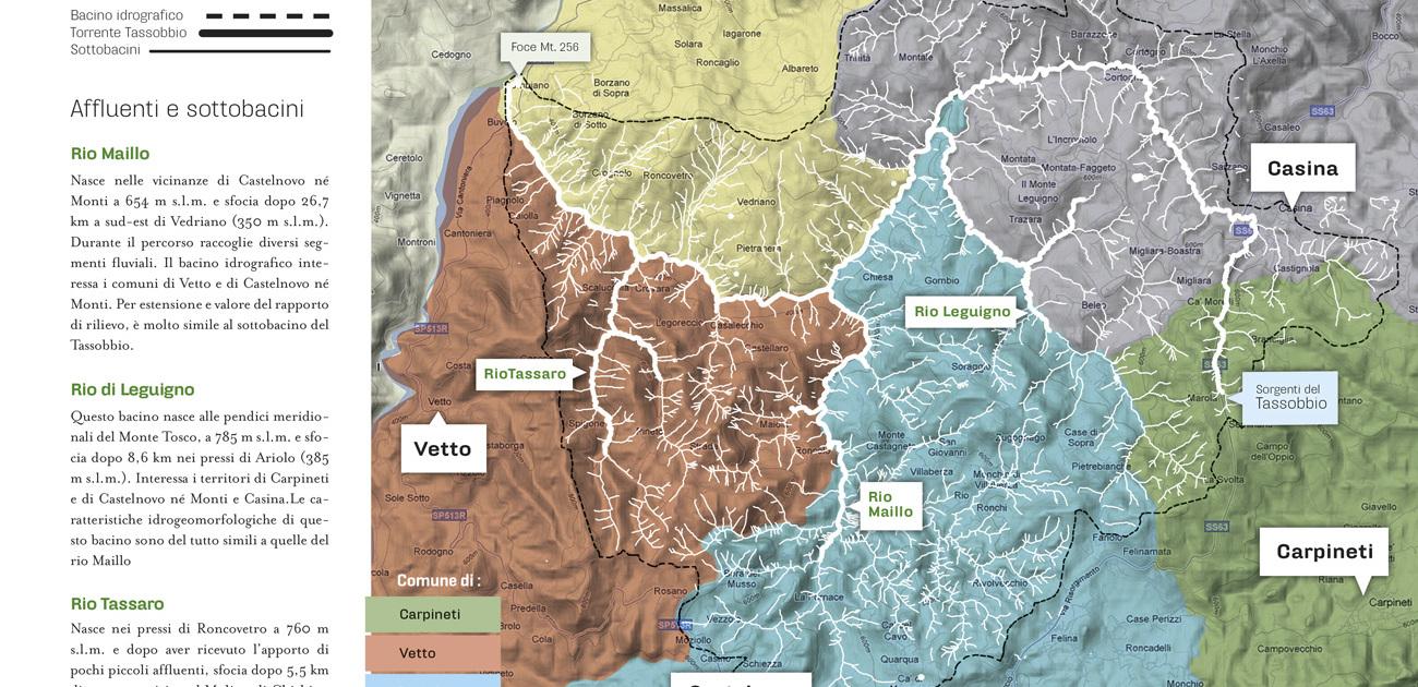 Cartina della valle del Tassobbio con la divisione dei comuni e dei principali affluenti